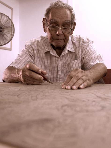Reimagining - Stills -Roy McIvor - lino cut dancing crabs